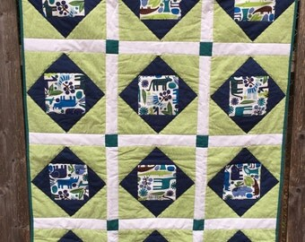 blue and green zoo animals baby crib one of a kind / baby quilt / boy quilt