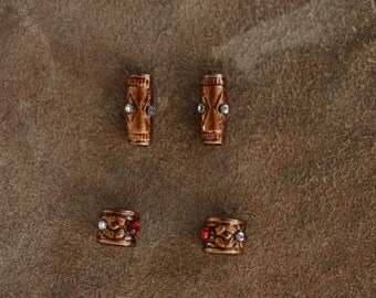 4 set red/diamond/copper Dwarf/Viking/Cosplay/LARP hair/beard/moustache beads