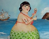 "Shirley Mermaid Bbw mermaid with anchor tattoo bathroom art on watercolor paper 8""x10"""