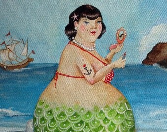 "Shirley Mermaid Bbw mermaid with anchor tattoo bathroom art on canvas 8""x10"""