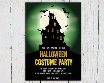 Halloween Party Invitation – Costume Fancy Dress invite – Print at home – Digital file