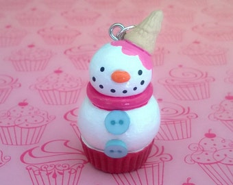 Snowman Cupcake Charm Ornament Polymer Clay Dessert Food Ice Cream Cone Gift Minature Ooak Holiday Winter Pink Xmas