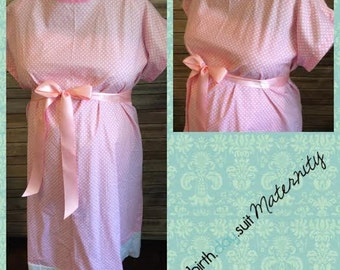 Maternity Hospital Gown - Light Pink with White Polka Dot