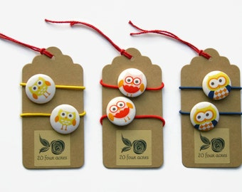 Cute Owls Pony Tail Holder Hair Elastic Hair Tie - Set of 2 - 28 mm - Ideal Gift - Girls Fabric Button Hair Elastic