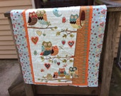 Growth Chart, Owls in the Tree Unisex Baby Quilt, Toddler Nap Blanket, Nursery Room Decor Wall Hanging