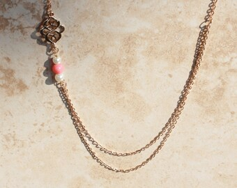 Delicate gold filled necklace, double strand, Pearls & Coral, Dressy, Classic Jewelry, Inarajewels, Jewerly gifts