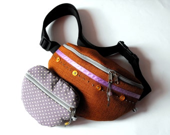 SALE*** 50% OFF in June*** fanny pack/hip bag with a purse - borwn, purple and mustard (big size)