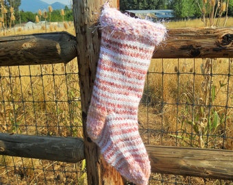 Silver and Pink Shabby Chic Knit Christmas Stocking with eyelash trim