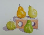 Watercolor Painting-Fine Art-Brick and Pears-Original Art by Diann
