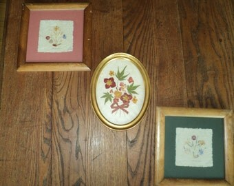 3 Vintage Dried Flower Arrangements on pressed Homemade Paper professionally framed and matted in Mint Condition