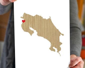 Costa Rica Map - Custom Personalized Heart Print - I Love my Hometown Wall Art Gift Souvenir - Destination Wedding