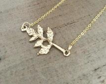 Gold Leaf Necklace sideways gold branch bright gold chain