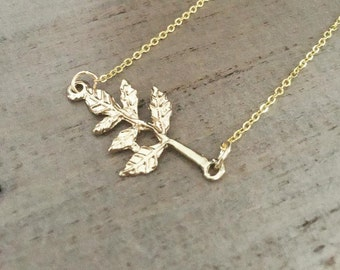 Gold Leaf Necklace sideways gold branch bright gold chain
