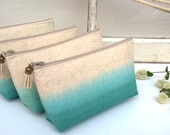 Set of 6 PLUS ONE FREE - Teal Clutch Purses, Bohemian Bridesmaid Gifts, Ombre Wedding, Wanderlust, Indie Wedding