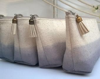 Grey Clutch Purses, Tassles Bridesmaid Gifts, Bohemian Wedding Clutch- Set of 7 GET ONE FREE