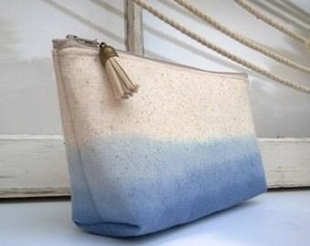 Blue Dip Dyed Linen Clutch - 1 Bag
