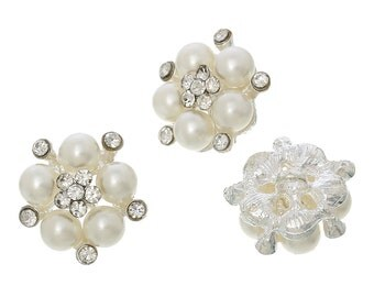 2 Rhinestone Pearl Buttons with Shanks - Single Hole - 22x21mm - Ships IMMEDIATELY from California - A430