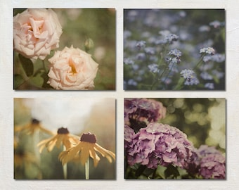Flower Photography Set, Four Print Set, French Country Wall Art Set, Cottage Decor, Shabby Chic Picture Set, Summer Floral Art Print Set
