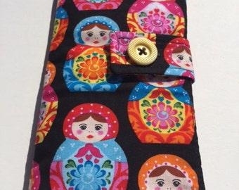 Russian Doll Crochet Hook Wallet 14 Pocket + Scissor Pocket - DPN - Make Up Brushes- Varied Sized Pockets