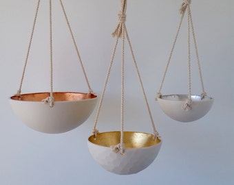Metallic Hanging Bowls, Copper, Gold or Silver Leaf Porcelain, 3 Size Options