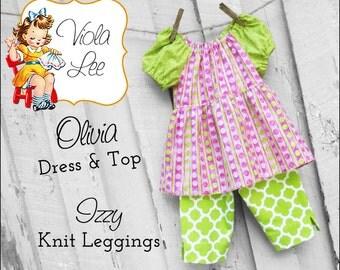 Olivia...Peasant Dress Pattern. Long & Short Sleeve peasant Top, Toddler Dress pdf Pattern, Girl's Sewing Pattern, Girl's Dress Pattern.