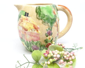 1920's English Majolica Jug, Antique Hand Painted Rose Cottage Pitcher from England