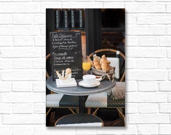 Paris Photography on Canvas - Petit Dejeuner, Gallery Wrapped Canvas, Breakfast in Paris, Sidewalk Cafe,  Kitchen Decor, Large Wall Art