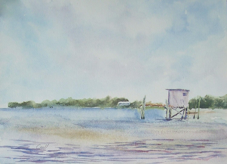 Gulf coast fishing shack print of an original watercolor for Fishing gulf shores
