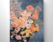 Abstract flower painting original wall art - Sitting Pretty II