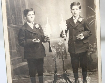 Antique Photograph of Twin Boys - Sepia