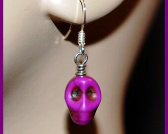 Purple howlite skull earrings-Goth Fantasy Paranormal Halloween jewelry-sterling silver w skull earrings-Spooky scary fun earrings-SRAJD