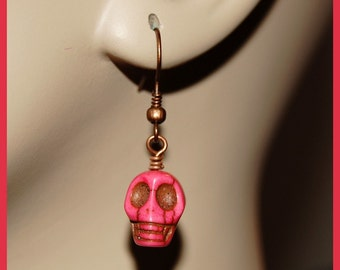 Rose pink howlite skull earrings-Goth Fantasy Paranormal Halloween jewelry-antiqued copper w skull earrings-Spooky scary fun earrings-SRAJD