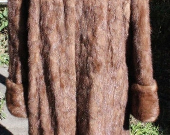 "Genuine Fur Sable Shade 44"" Long Demi Buff Mink Coat Size 10-12"
