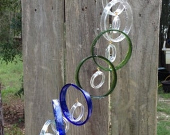 mixed bottle colors, GLASS WINDCHIMES from RECYCLED bottles,   garden decor, wind chimes, mobiles, musical, windchimes