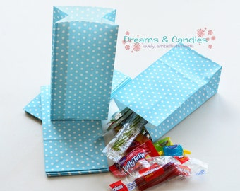 """25 Patterned Mini Blue Dots Paper Bags with Gusset Size 3-5/8"""" X 2-1/4"""" X 7"""" -Candy Bags -Birthday Paper Bags -Blue Paper bags -Favor Bags"""