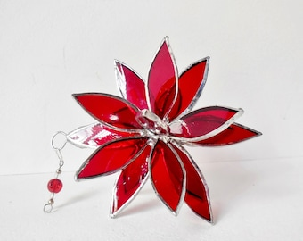 Red Stained Glass Suncatcher. Flower. Flower of Life - Swirl.