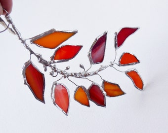 Orange Red Glass Autumn Leaf Branch. Stained Glass Suncatcher. Orange Red Leaf.  MADE TO ORDER