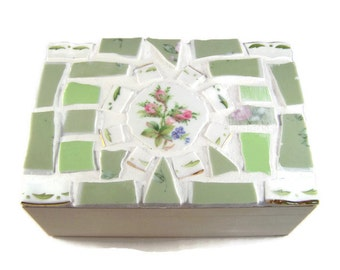 Green Mosaic Jewelry Box - Broken China Mosaic