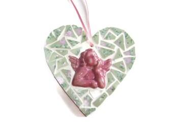 Pink Cherub Broken China Mosaic Heart