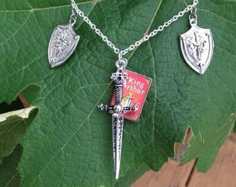Fairy tale necklace king arthur necklace, novel jewelry, sword jewelry