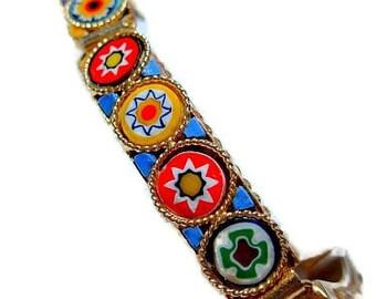 "Czech Glass Link Bracelet Millifiori Colored Discs & Enamel Gold Metal 7.5"" Vintage"