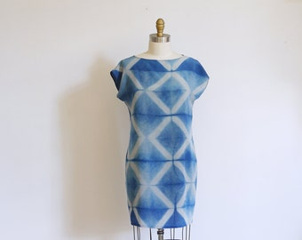 Silk mini Dress natural dye Indigo.  Shibori DIAMOND Made to order