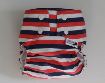 Circus Stripes Water Resistant PUL Lined Adjustable Diaper Cover Available in Small, Medium, and Large