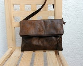 Vegan fold over crossbody bag, FAUX LEATHER, faux suede in chocolate brown,lightweight.Adjustable strap.Minimalist.
