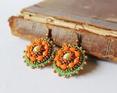 Orange Green Earrings Beadwork Earrings Cats eye Earrings Bead embroidery Earrings Orange Dangle Earrings Colorful Boho style Woodland
