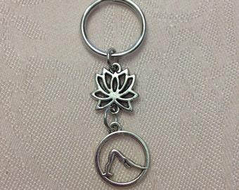 Silver Lotus Downward Dog Keychain