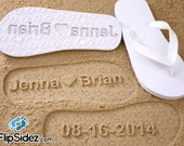 Custom Bridal Flip Flops - Personalized Sand Imprint Sandals *check size chart before ordering*