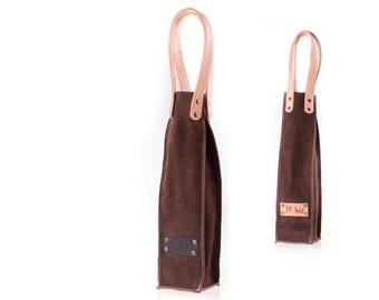 Brown suede wine bag  - bottle holder - leather bottle bag - BYOB -