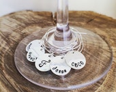 Personalized Wine Glass Charm - Hand Stamped Custom Wine Glass Charm -  Perfect for a Holiday or Hostess gift / Wedding, Bridal Shower Party