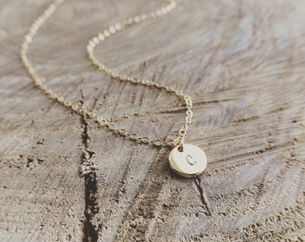 Initial Necklace, Hand Stamped Custom Initial Drop Necklace, Custom stamped Jewelry, Personalized Gift, Bridesmaid Gift, Holiday Gift